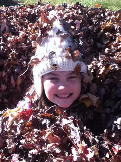 Samantha Scrogham took advantage of a sunny Sunday afternoon and played in the leaves her dad Charlie raked in a pile. Photo by Janet Scrogham on Sunday November 10,2013