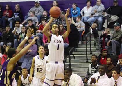 Bardstown's Treston Grundy hit this three during a 10-2 fourth-quarter run by the Tigers. Eight of his 10 points came in the fourth quarter.