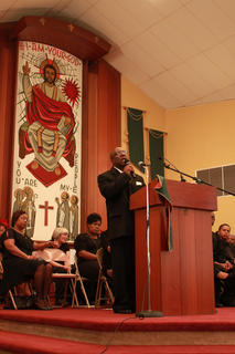 The Rev. Dr. Calvin R. Holloway, who has been pastor at Second Baptist Church in Fairfield for more than 16 years, was the featured speaker at Monday's celebration of Martin Luther King Day at St. Monica Catholic Church in Bardstown.