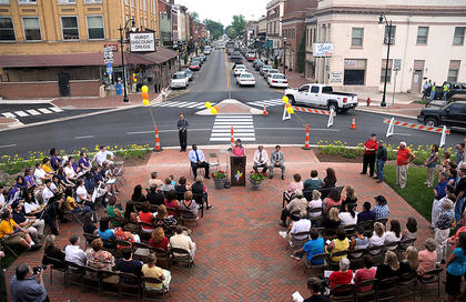 JUNE 3, 2011: Mayor Bill Sheckles, Nelson County Economic Development Agency president Kim Huston, Nelson County Judge Executive Dean Watts and former mayor Dick Heaton make appearances at the official opening of the streetscape project.