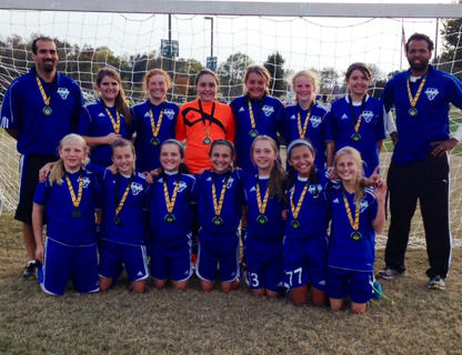 The Nelson Elite U12 Lightning Boltz placed seconnd at the Kick or Treat soccer tournament in Bowling Green on Oct. 26-27. Team members include (front) Stephanie Muncy, Bailey Mudd, Olivia Shams, Kaelyn Walker, Taylor Ballard, Gabby Garcia, Buckley Sparks, (back) coach Jacob Shams, Madi Byrd, Jenna Head, Izzy Whitis, Chely Riggs, Baeli Young, Skye Benningfield and coach Jeff Stone.