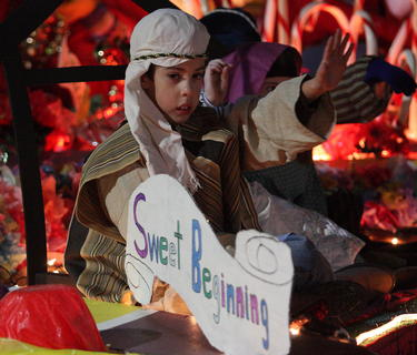 The First Cedar Creek Baptist Church featured a variety of scenes including this one of  O' Little Town of Bethlehem. The float took second place in the non-commercial category.